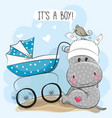its a boy with baby carriage and hippo vector image vector image