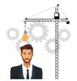 man business idea gear crane enginer vector image