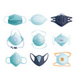medical masks to protect coronavirus isolated set vector image