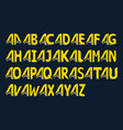 modern yellow alphabet on a black background vector image vector image