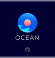 ocean logo waves and sun into glossy circle vector image