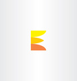 orange yellow e letter e symbol logotype vector image vector image