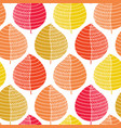 orange yellow red leaves white background pattern vector image