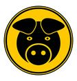 Pig symbol button vector image