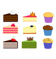 set of cake slices and muffins vector image