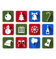 set of christmas icons white flat with vector image vector image