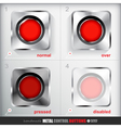 Set of four positions of Metal Record Button vector image vector image