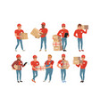 set of postal workers in different poses courier vector image