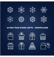 Snowflakes and gifts outline icons set for new vector image vector image