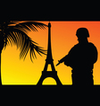 soldier with eiffel tower silhouette vector image vector image