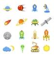 Space icons set of rocket galaxy planet ufo vector image vector image