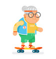 sports healthy granny active lifestyle age skating vector image vector image