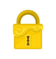 square-shaped lock with ornamental engraving flat vector image vector image