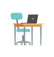 table chair and portable computer isolated icons vector image