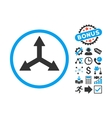 Triple Arrows Flat Icon with Bonus vector image vector image