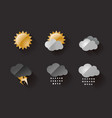 weather icons metal look on dark background vector image