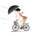 woman with umbrella rides a bike under the rain vector image vector image