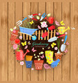 banner with colorful gardening tools and vector image