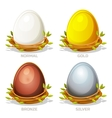 Cartoon funny colored Eggs in birds nest of twigs vector image