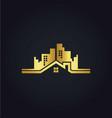 home building cityscape gold logo vector image