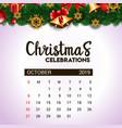 2019 october calendar design template of vector image