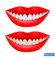 a realistic female mouth lips and teeth in a vector image