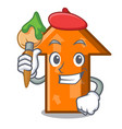 artist arrow character cartoon style vector image