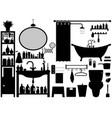 bathroom toilet design set a set of bathroom vector image