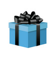 blue box gift decoration ornament with black bow vector image vector image