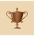 Bronze Cup of Winner on Yellow Background vector image