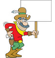 cartoon cowboy holding a sign vector image vector image