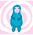 cartoon cute blue sloth inflates vector image vector image