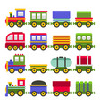 cartoon style colortoy railroad train set vector image vector image