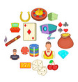 casino icons set cartoon style vector image vector image