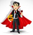 Charming predatory vampire with Halloween pumpkin vector image