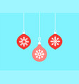 christmas balls hanging ornaments set hand vector image vector image
