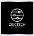 circle tech logo signal line and dots vector image vector image