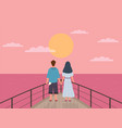 couple and sunset happy man and woman vector image vector image