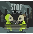 Couple in dirty environment vector image vector image