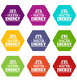 drop water energy icons set 9 vector image vector image
