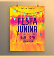 festa junina flyer design invitation template vector image vector image