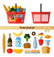food set supermarket red basket with food vector image vector image