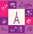 france and paris squared doodle concept vector image