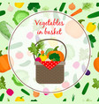 fresh vegetable organic set in basket vector image