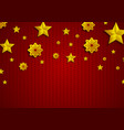 golden stars and snowflakes on red knitted vector image vector image