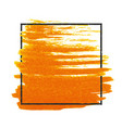 grunge stamped rectangle frame on orange brush vector image vector image