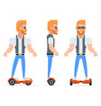 gyroscooter geek hipster casual character icons vector image vector image