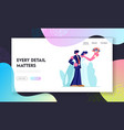 happy bridal couple outside wedding ceremony vector image