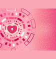 heart in technology background concept valentines vector image vector image