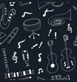 jazz musical instruments seamless pattern vector image vector image
